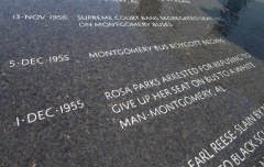 Among the many martyrs honors in the memorial is Rosa Parks.