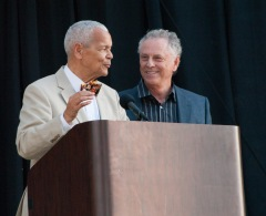 Julian Bond and Morris Dees, two powerful voices in the Civil Rights struggle.