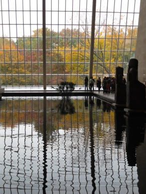 The reflections of inside and outside in the pool in the Sackler Wing of the Met are always gorgeous, but especially on a Fall day.