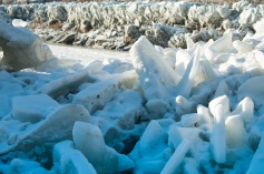 The power of the water moving this ice, here seen only as the pile remaining after the water subsided, is terrifying!