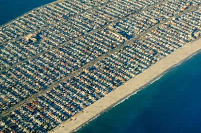 Development on the barrier islands along the north coast of Florida.