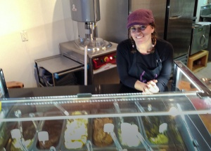 Nora Kennedy, the genius behind Chill's gelato, serving up both smiles and great, chilled delights!