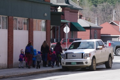 "Some of the few ""pedestrians"" I saw on this cold day were a group of kids out for a walk."