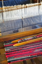 Some of the more intricate patterns took days to set up on the looms.