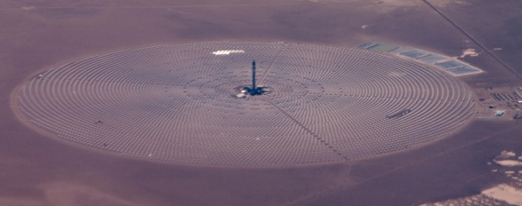 Solar options like this concentrating solar boiler, somewhere on the California/Nevada border, may be seen by some as an answer. I'm not sure, especially given the power may end up lighting Vegas or powering Google cloud.