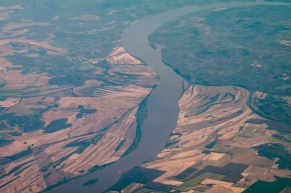 Another view of the Ohio River, shaped by flooding and farms, all too often working together in ways that are not good for the Planet.