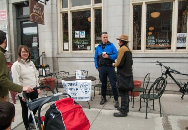 """One of our finest in blue hosting """"coffee with a cop"""""""