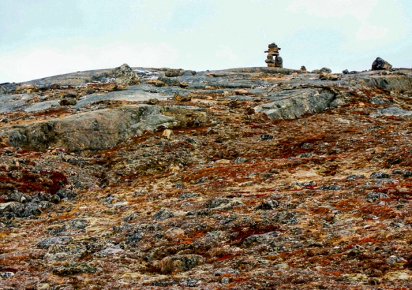 In the vast tundra an inuksuk are often used as way markers.