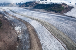 The Kennicott Glacier, an immense presence, near McCarthy, Alaska, is shrinking rapidly as a result of our impact on the planet.