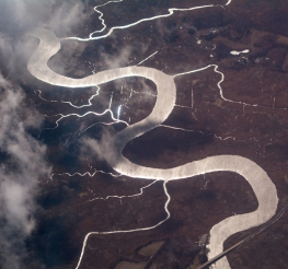Appoquinimink River meandering through salt marsh into the Delaware River