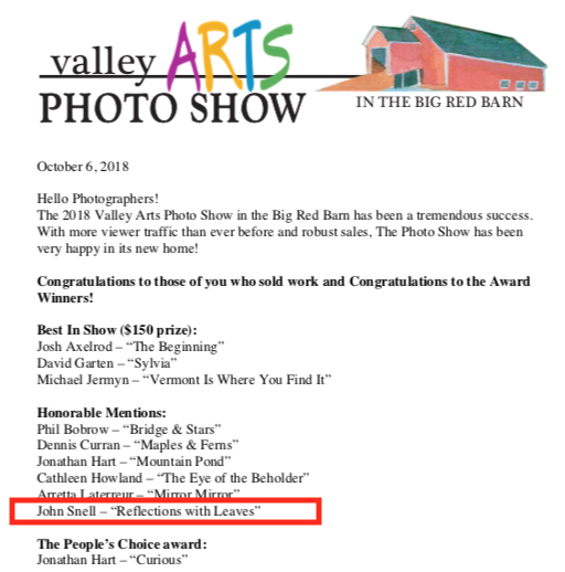 Valley Arts Honorable mention